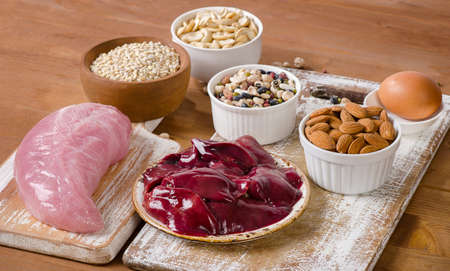 selenium: Foods with Selenium  on  wooden table. Stock Photo