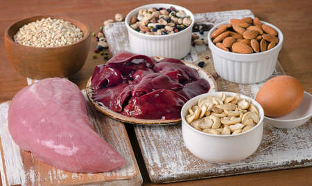 selenium: Foods with Selenium  on  wooden board. Stock Photo