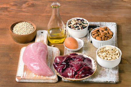 selenium: Foods with Selenium  on rustic wooden board.