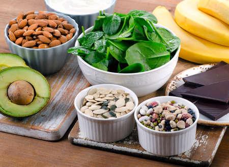 마그네슘 함량이 높은 식품. 건강한 식생활. 스톡 콘텐츠 - 57073297