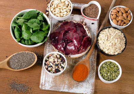 comidas saludables: Manganeso alimentos ricos. Alimentación saludable. Vista superior Foto de archivo