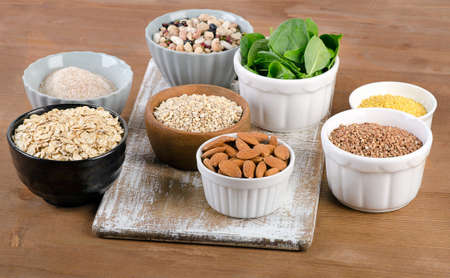 silicon: Food Sources of Silicon on  wooden table. Healthy eating