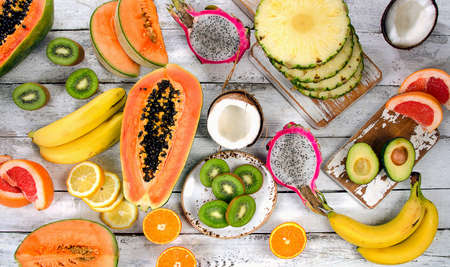 summer fruit: Exotic tropical fruits.  Healthy diet eating concept. Top view