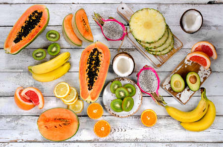 Fruits. Healthy eating concept. Top view
