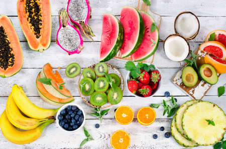 summer fruit: Raw Fruits background. Healthy eating concept. Top view