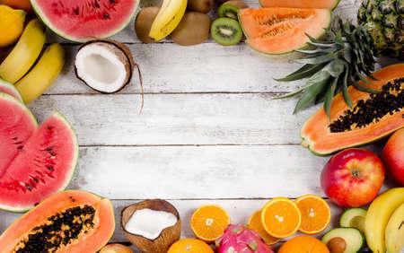 fresh concept: Fresh healthy fruits. Vitamins concept. Top view