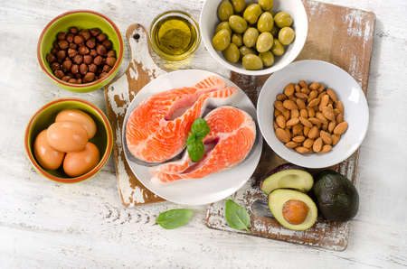 Good fats sources. Healthy eating, dieting. Top view