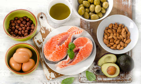 fat food: Healthy fat sources. Healthy eating, dieting. Top view Stock Photo