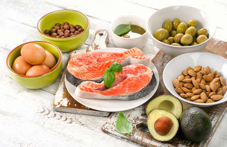sources: Good fats sources. Healthy eating concept.