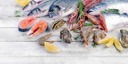 원시 해산물. 건강한 음식. 위에서 본