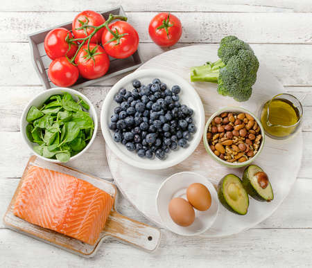 Foods for healthy brain. Concept. Top view