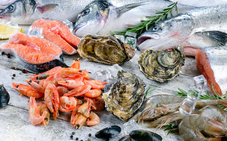 gilthead: Fish and seafood with fresh aromatic herbs and spices. Healthy diet eating.