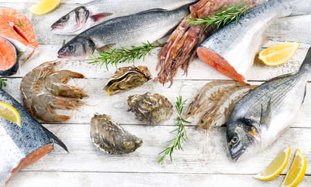gilthead: Fresh seafood. Healthy diet eating. Top view