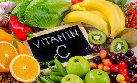 Foods High in vitamin C.  Healthy eating, dieting Archivio Fotografico