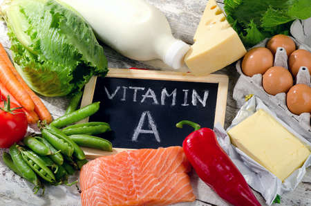vitamin rich: Natural products rich in vitamin A. View from above Stock Photo