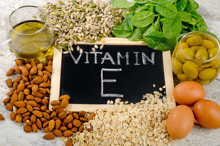 Natural Foods high in  vitamin E. Stock Photo - 61624757