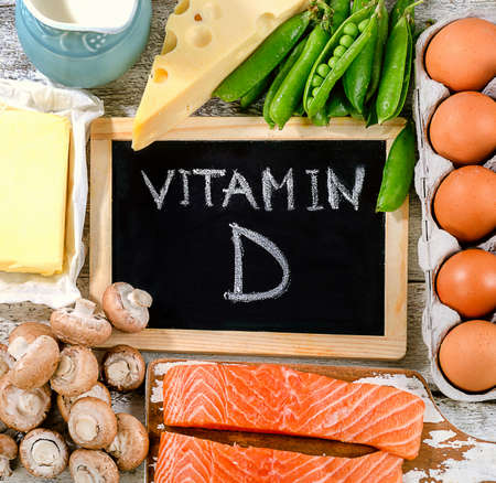 vitamin rich: Foods rich in vitamin D. Healthy eating concept. Top view