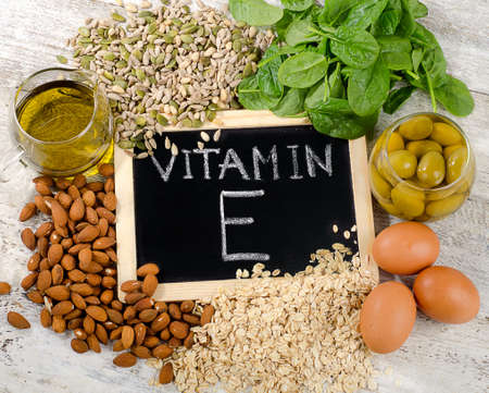 Natural Foods high in a vitamin E. Flat lay