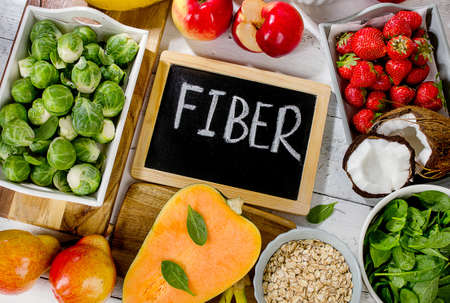 High Fiber Foods on  wooden background. Top view