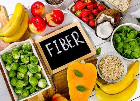 High Fiber Foods. Healthy food concept. Top view