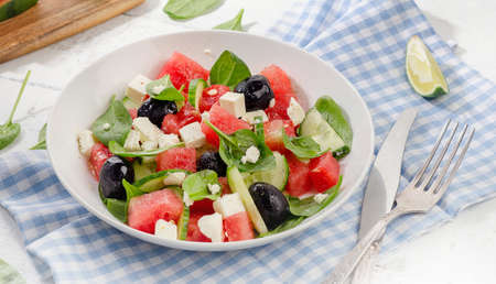 Watermelon salad with feta cheese. Healthy eating.