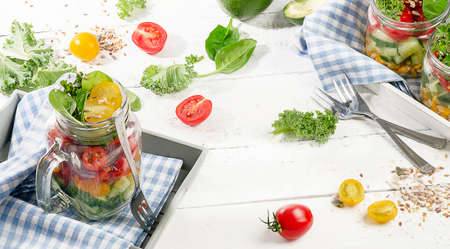 Fresh vegetable Salad. Healthy diet and detox concept. Vegetarian food. Stock Photo