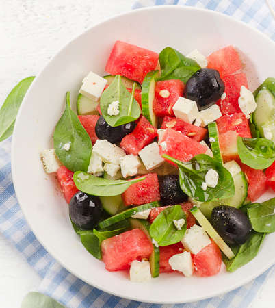 Watermelon salad with feta cheese. Healthy diet. Top view