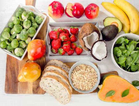 Foods Highest in Fiber. Healthy diet eating. Top view