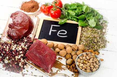Products containing iron. Healthy eating concept. Archivio Fotografico