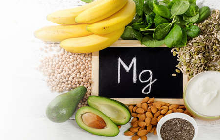 Products containing magnesium. Healthy food. Flat lay