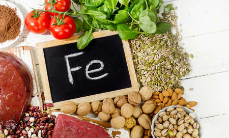 Products containing iron. Healthy diet eating.Top view Standard-Bild