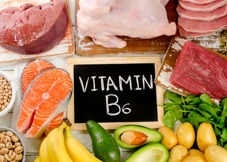 Products with Vitamin B6. Healthy food concept. Archivio Fotografico