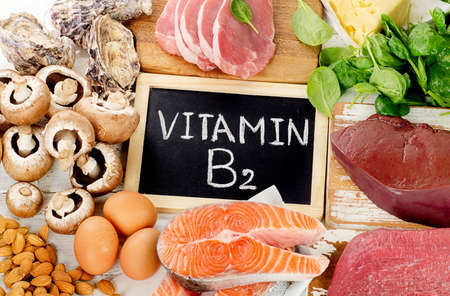 Foods Highest in Vitamin B2 (Riboflavin). Healthy food. Top view Stock Photo