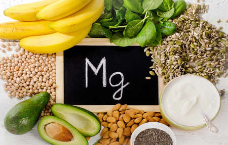 Products containing magnesium. Healthy eating. Top view