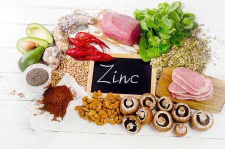 Foods Highest in Zinc. Healthy eating. Flat lay