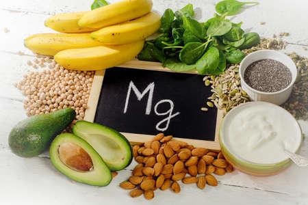 Les produits contenant du magnésium. La nourriture saine. Vue d'en haut Banque d'images