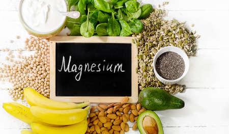 Prodotti ricchi di magnesio. Concetto di cibo sano. disteso Archivio Fotografico