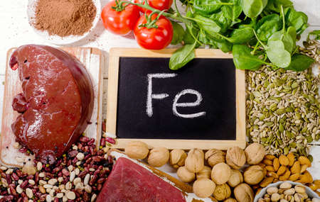 containing: Products containing iron. Healthy eating. Top view Stock Photo