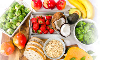 fiber food: Foods Highest in Fiber. Healthy diet eating. Top view. Banner