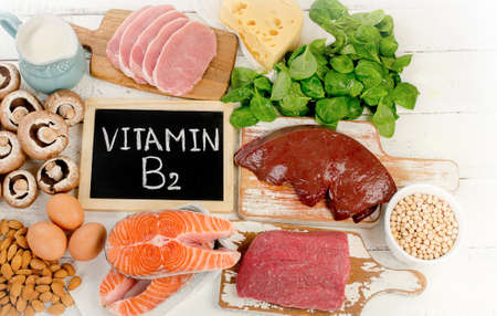 Foods Highest in Vitamin B2 (Riboflavin). Top view