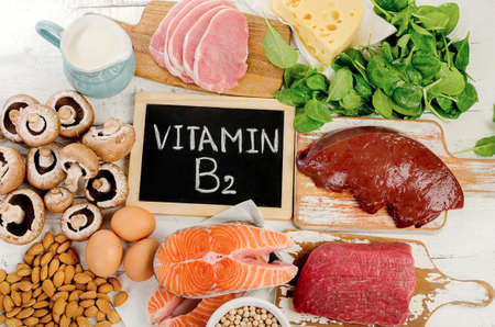 riboflavin: Foods Highest in Vitamin B2 (Riboflavin). Healthy eating. Flat lay