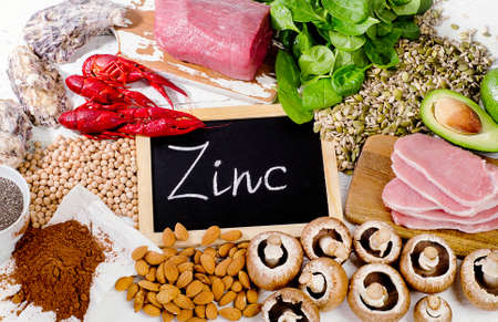 Foods Highest in Zinc. Healthy diet food. Flat lay
