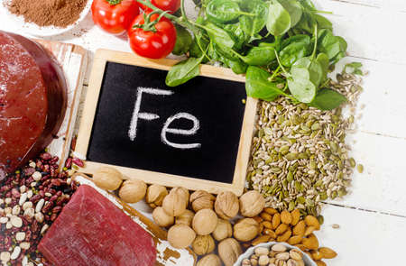 source of iron: Products containing iron. Healthy diet food.Top view