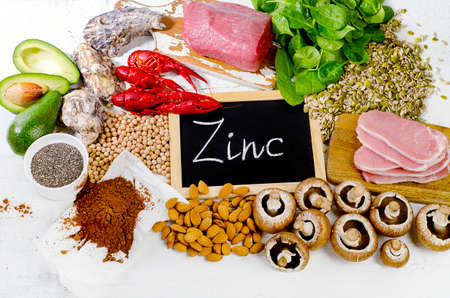 Foods Highest in Zinc. Flat lay Stock Photo
