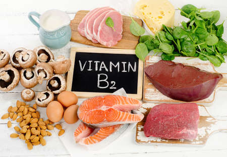 Foods Highest in Vitamin B2 (Riboflavin). Healthy food. Top view Stockfoto
