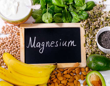Products containing magnesium. Healthy food concept. Top view Stockfoto