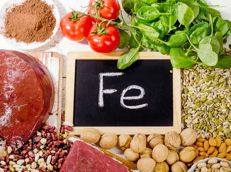 containing: Products containing iron. Healthy food.Top view