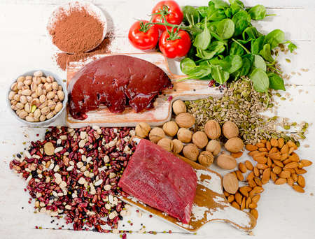 Foods containing iron. Healthy diet concept. Top view Stock Photo