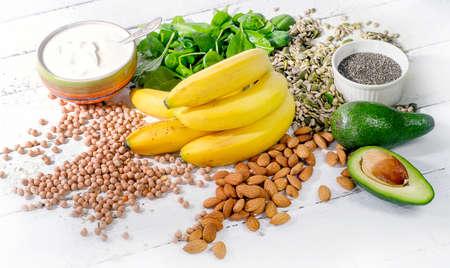 Alimenti contenenti magnesio. Concetto di mangiare sano dieta.
