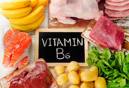 group b: Foods with Vitamin B6(Pyridoxine). Healthy food. Top view